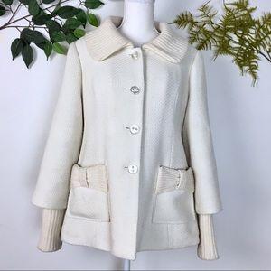 Anthropologie | Tabitha Cream swing style coat M